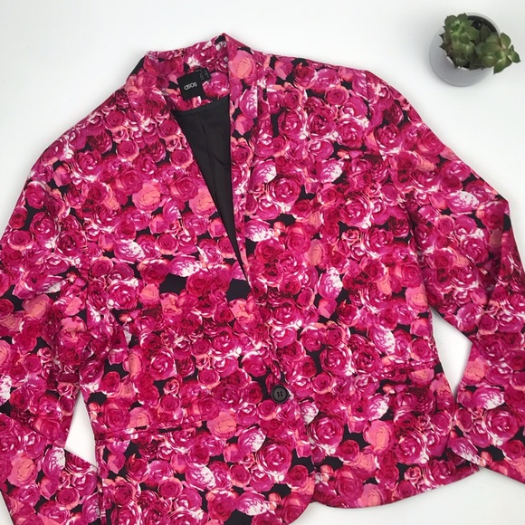 ASOS Jackets & Blazers - ASOS Hot Pink Rose Floral Single Button Blazer